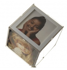 Acrylic spinning large photo cube which holds 6 prints