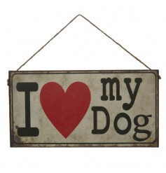 A stylish metal I Love My Dog Sign with a rustic and distressed finish with rope to hang.