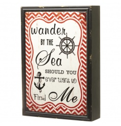 A red and cream nautical style wooden block sign with a distressed, ceramic finish.