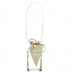 A chic hanging glass bottle with a Special Friend heart sign and raffia bow.