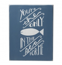 A stylish navy blue and white wooden block sign for those you love.