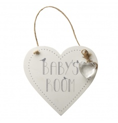 Hanging Wooden Baby's Room Heart Sign