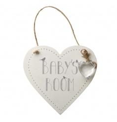 Hanging Wooden Baby's Room Heart Sign