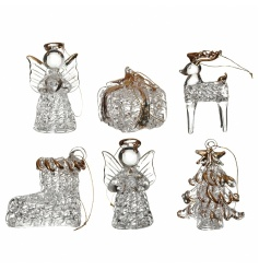 Intricate glass tree decorations in a set of 6 designs