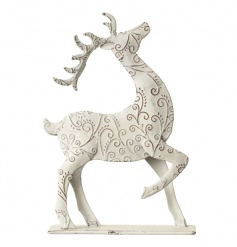 Swirl design metal reindeer standing ornament