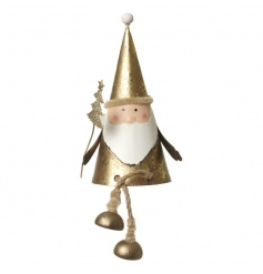 Sweet sitting metal Santa ornament finished in gold