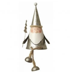 Sitting Santa decoration in a classic silver by Heaven Sends