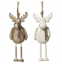 An assortment of two rustic reindeer decorations with distressed design