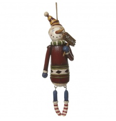 A Wooden Hanging Snowman Ornament
