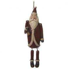 A Wooden Hanging Santa Ornament