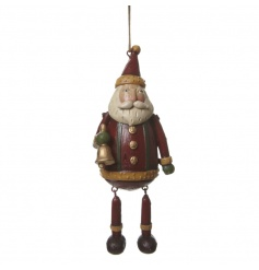 A Wooden Hanging Santa Ornament