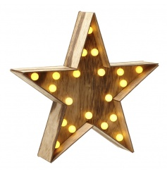 Battery powered wooden star with LED lights
