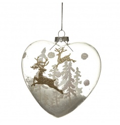 Heart shaped glass bauble with artificial snow and glitter deer design