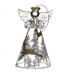 Decorative glass angel decoration with glitter detail