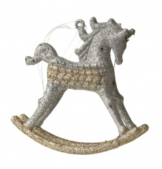 Decorative hanging rocking horse in a gold and silver glitter