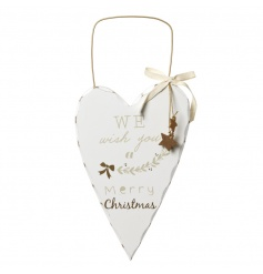 Heart shaped plaque in a classic white with festive text and pattern