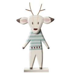 A whimsical standing reindeer decoration with gold antlers and pretty painted details.