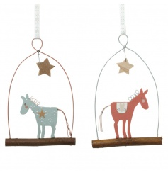 Pink and blue adorable reindeer decorations with patterned ribbon to hang.