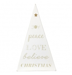 Decorative wooden tree in a classic white colour with gold text