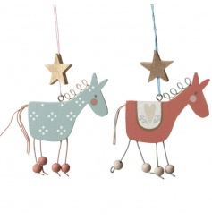 Cute crafted reindeer decorations with wooden beads, pretty decoration and hanging stars.