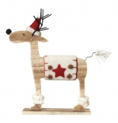 A festive wooden reindeer decoration with metal antlers and a cute felt outfit, nose and hat.