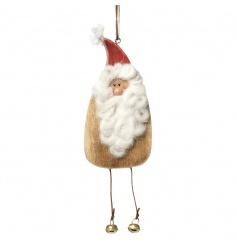 A unique wooden hanging santa with a wooly beard, hat and hanging bells.