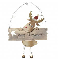 An adorable hanging Merry Christmas sign with a cute reindeer and gold jingle bells.