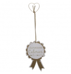 Humorous hanging rosette decoration with gold detail