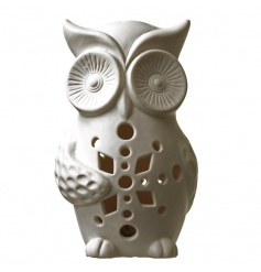 Classic white ceramic owl with pretty LED lights