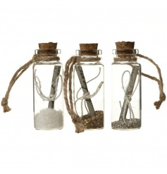 Hanging message in a bottle decorations in an assortment of 3