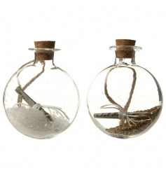 Glass message in a bottle hanging decorations, 2 assorted