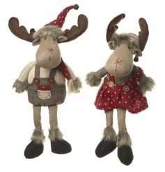A mix of 2 adorable boy and girl fabric moose with red and white polka dot outfits and fur trims.