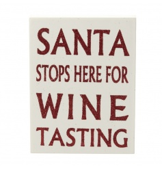 A humorous and stylish red glitter and white wooden festive sign.