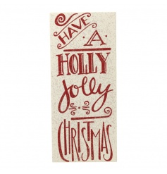 A red and white wooden sign with festive script and a touch of sparkle.