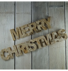 3D Natural Merry Christmas sign with a birch finish.