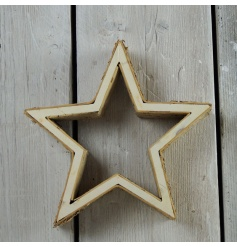 A rustic star decoration with birch detailing.