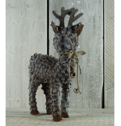 A stylish wooden pinecone reindeer with rustic bells. A gorgeous display item for xmas.