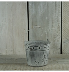 Zinc bucket with a festive scene and white wash finish