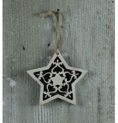 White washed style star decoration with a stencil effect
