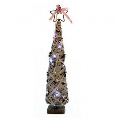 Light Christmas tree decoration in a greywashed design with LED lights