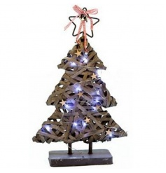 Light up Christmas tree decoration with a greywashed finish