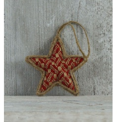 A charming and rustic woven bauble in natural and red colours with jute hanger.