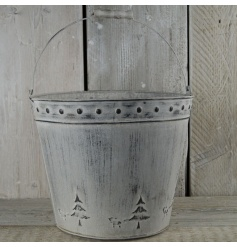 A whitewashed christmas bucket, extra large, the perfect item to dress up the garden