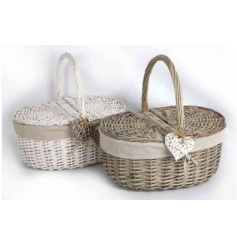 An assortment of 2 willow picnic baskets with heart detail