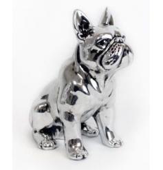 Antique style sitting bulldog ornament in silver