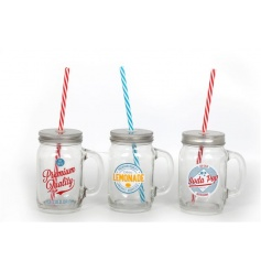 Retro style glass jars in an assortment of three designs, each with colourful straw