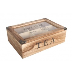 A natural wooden tea box with glass lid and industrial features with EST 1928 stamp.