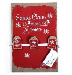 A rustic wooden board with To Do, Present List and Don't Forget pegs. Perfect for Xmas planning!
