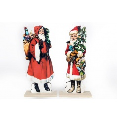 An assortment of 2 freestanding Santa decorations with a distinct vintage look.