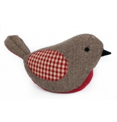 A tweed and gingham wool robin doorstop